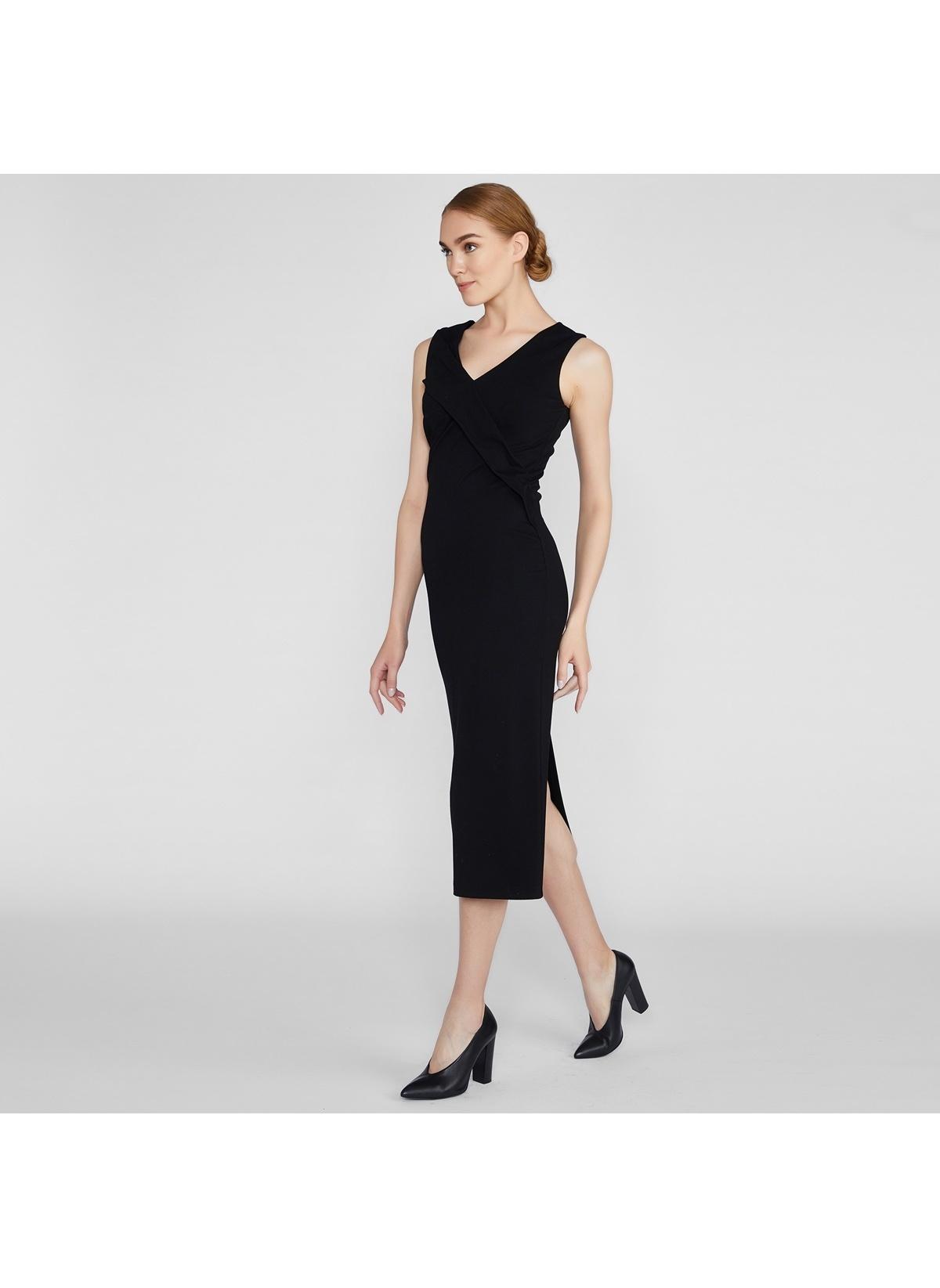 e3080b69819a9 Vekem-Limited Edition Kadın V Yaka Abiye Elbise Siyah İndirimli ...